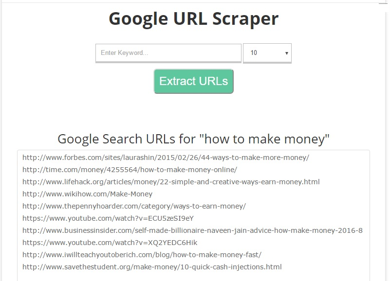 Google Url Scraper How It Looks Like